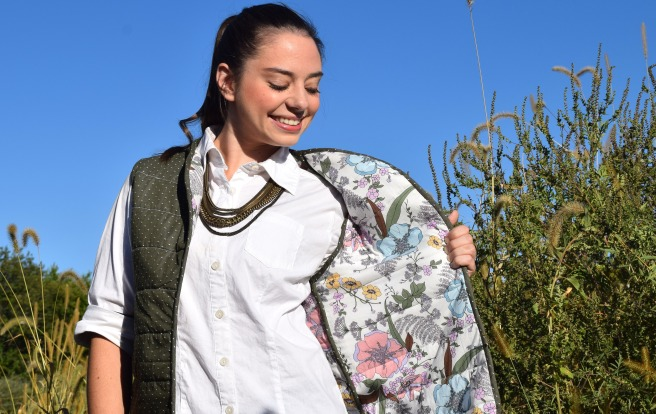 Polka Dots and Floral Vest- Trish Stitched