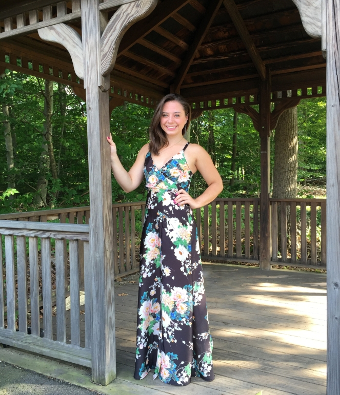 Floral Maxi Dress with Front Slit- Trish Stitched