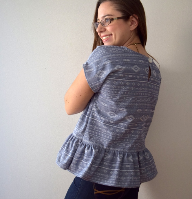 People Watching Peplum Top - Trish Stitched