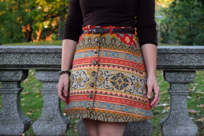 Fall Tapestry Button Up Rosari Skirt - Trish Stitched