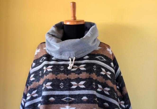 Aztec Popover Poncho - Trish Stitched