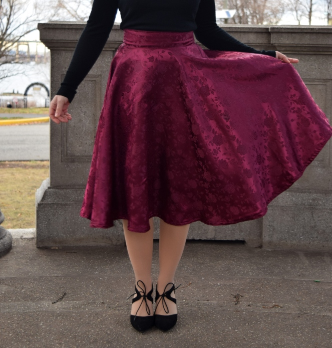 Burgundy Rose Circle Skirt - Trish Stitched