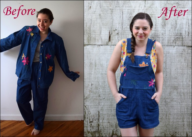 Pant Set Refashion - Turia Dungarees with Embroidered Florals - Trish Stitched