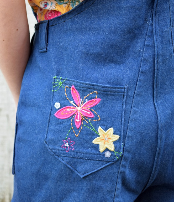 Pantsuit Refashion - Turia Dungarees with Embroidered Florals - Trish Stitched