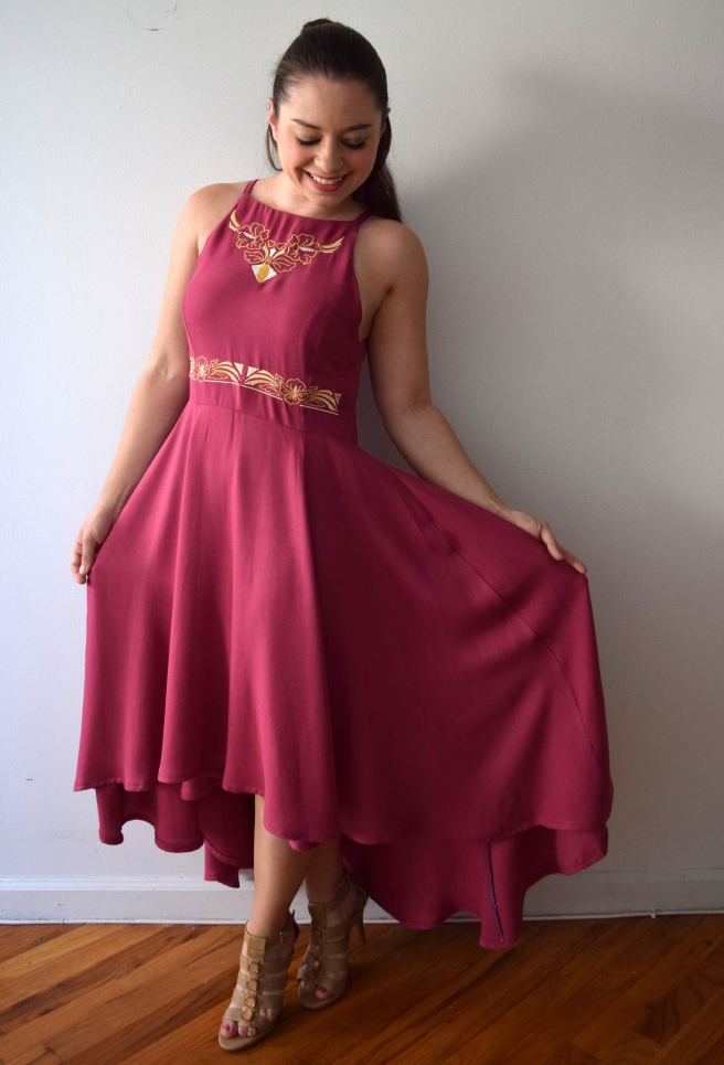 Mauve Embroidered Dress - Trish Stitched