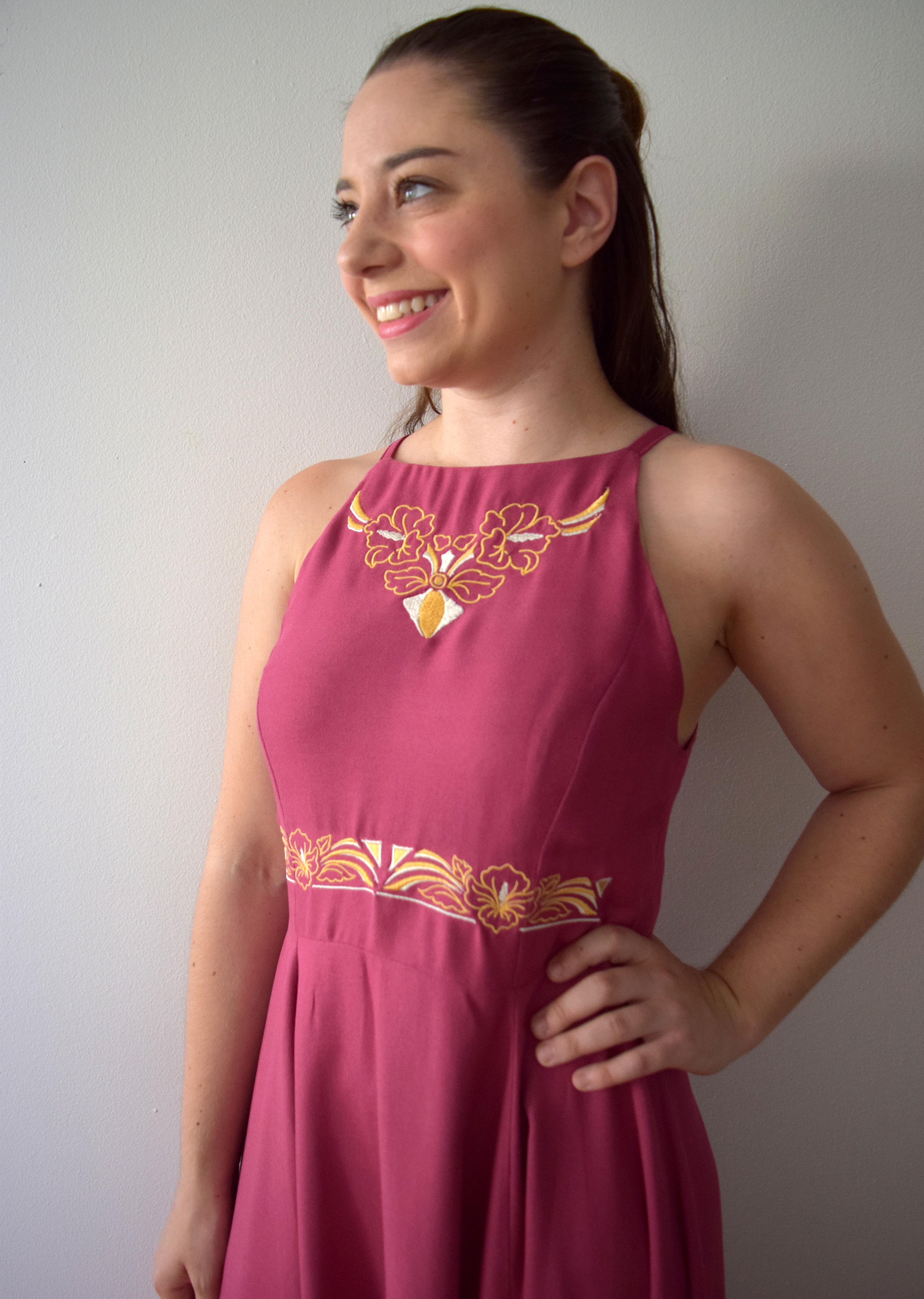 Mauve Embroidered Dress - Trish Stitched