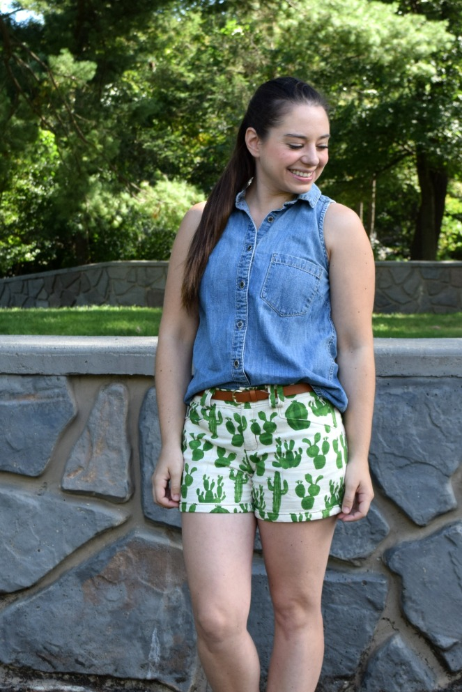 Cactus Print Gina Shorts- Trish Stitched