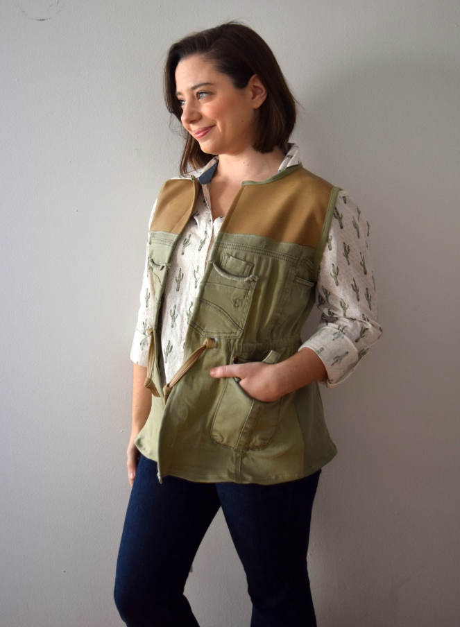 #RefashionFriday Cargo Pants to Vest Refashion - Trish Stitched