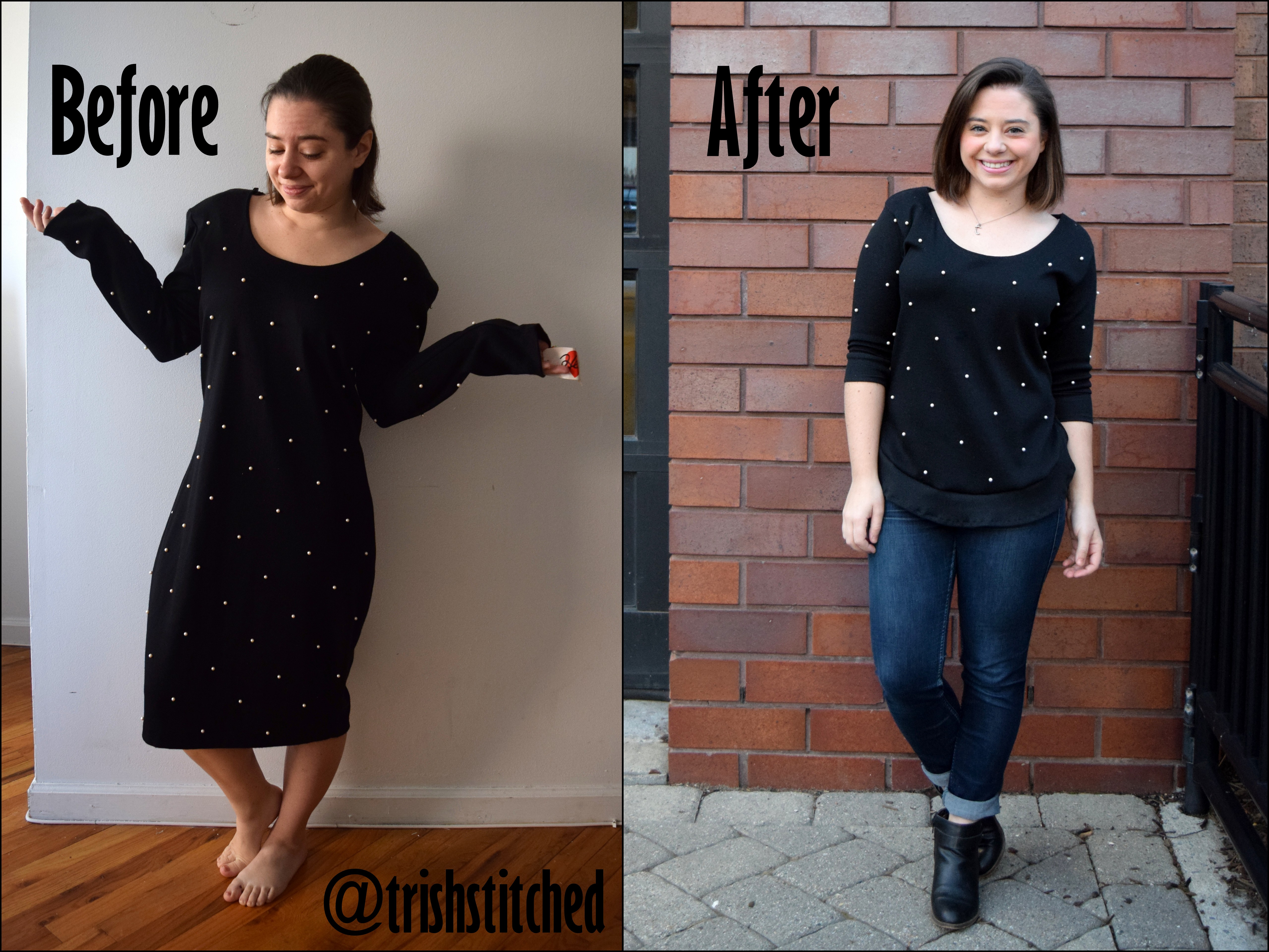 #RefashionFriday Pearl Dress to Curved Hem Sweater - Trish Stitched