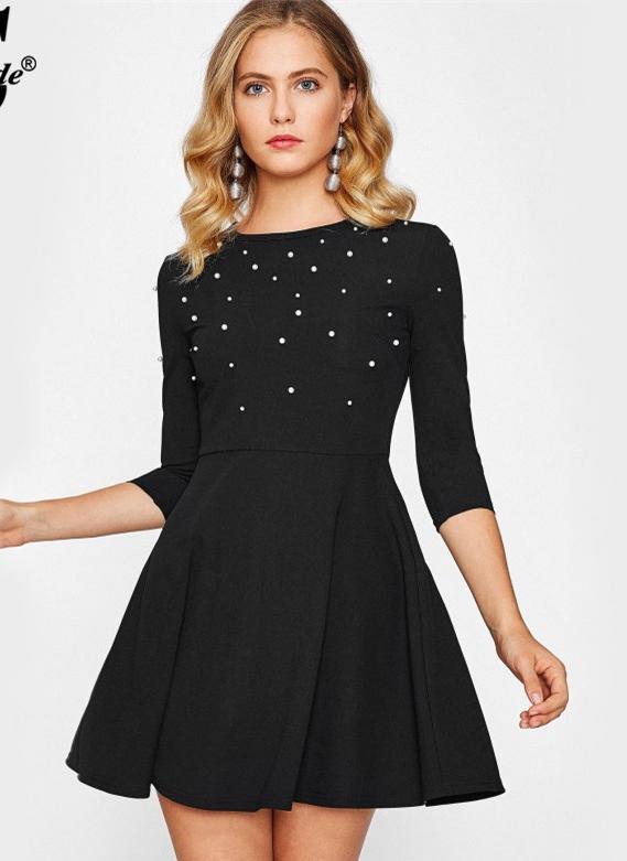 Sheinside-Pearl-Embellished-Party-Dress-Zip-Fit-Flare-Women-Black-3-4-Sleeve-Skater-Dresses-2017