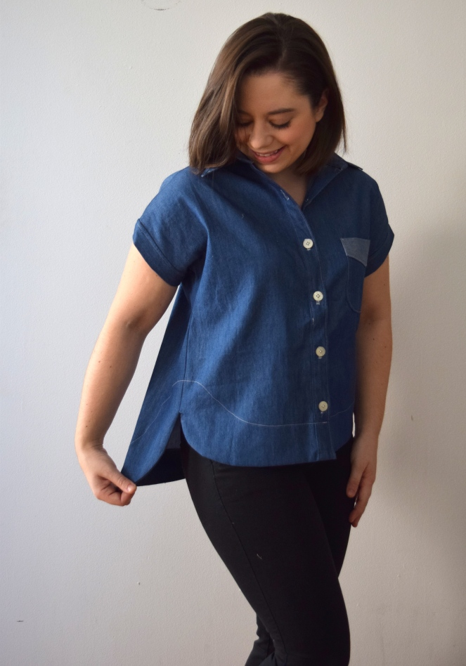 Chambray Kalle Shirt: Extended Crop Top - Trish Stitched