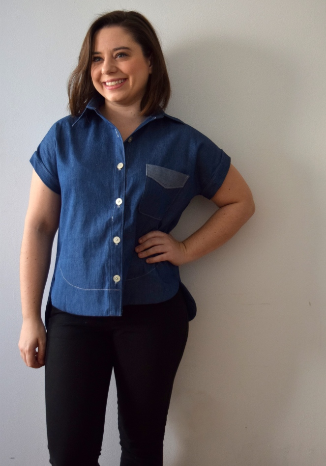 Denim Kalle Shirt: Extended Crop Top - Trish Stitched