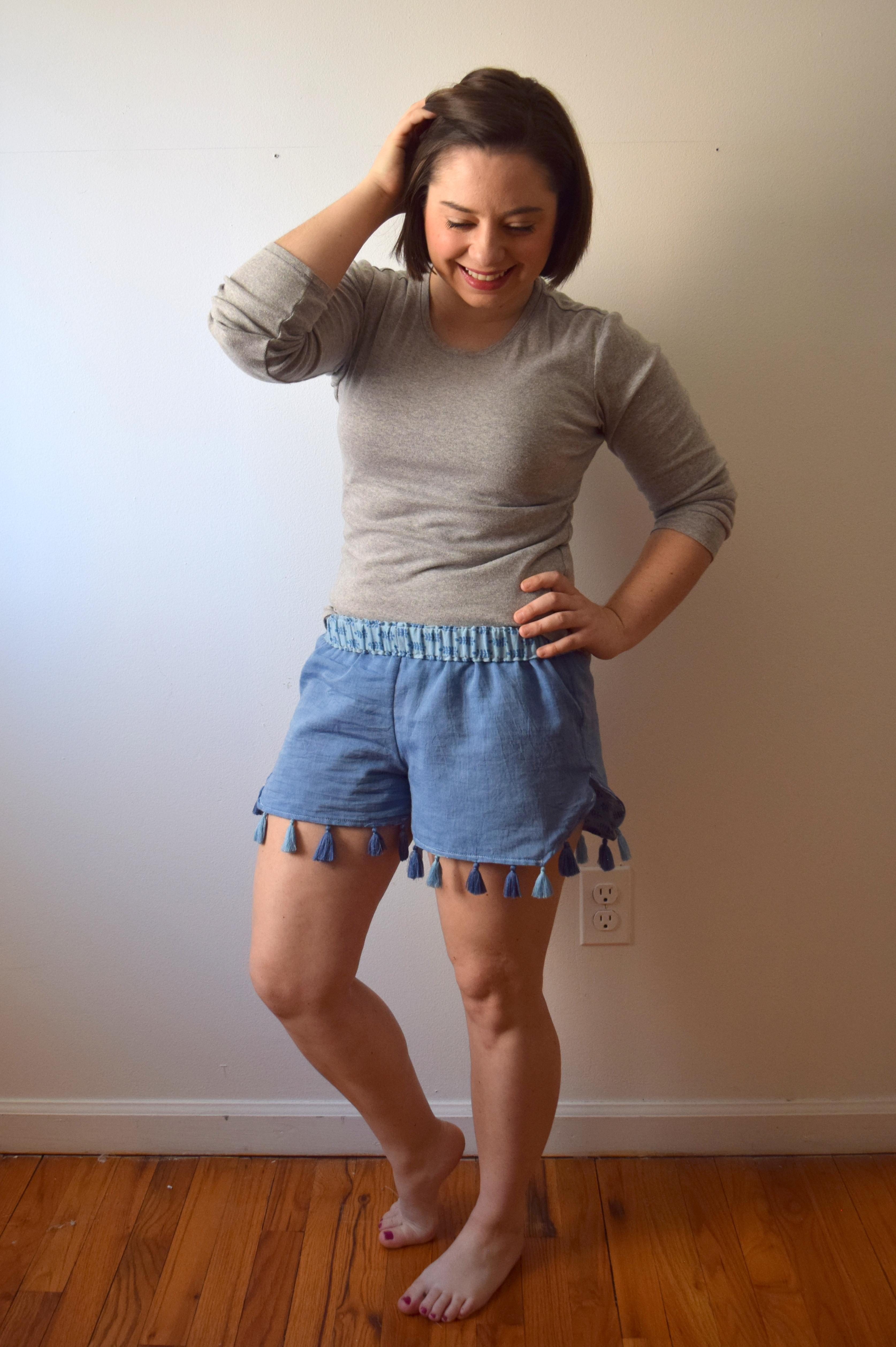 Fashion Revolution Week: Scarf to Shorts Refashion- Trish Stitched