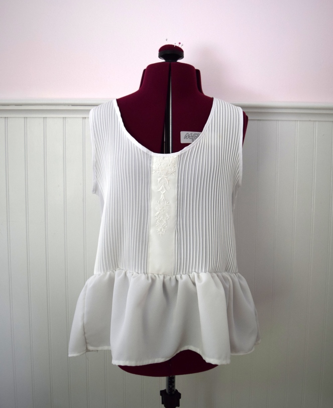 #RefashionFriday Blouse to Peplum Tank - Trish Stitched