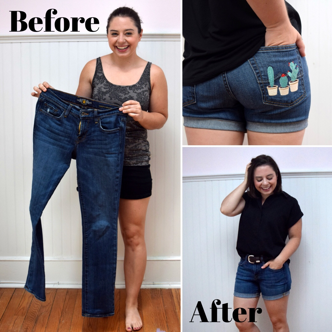 Jeans to Shorts Refashion - Trish Stitched for Janome