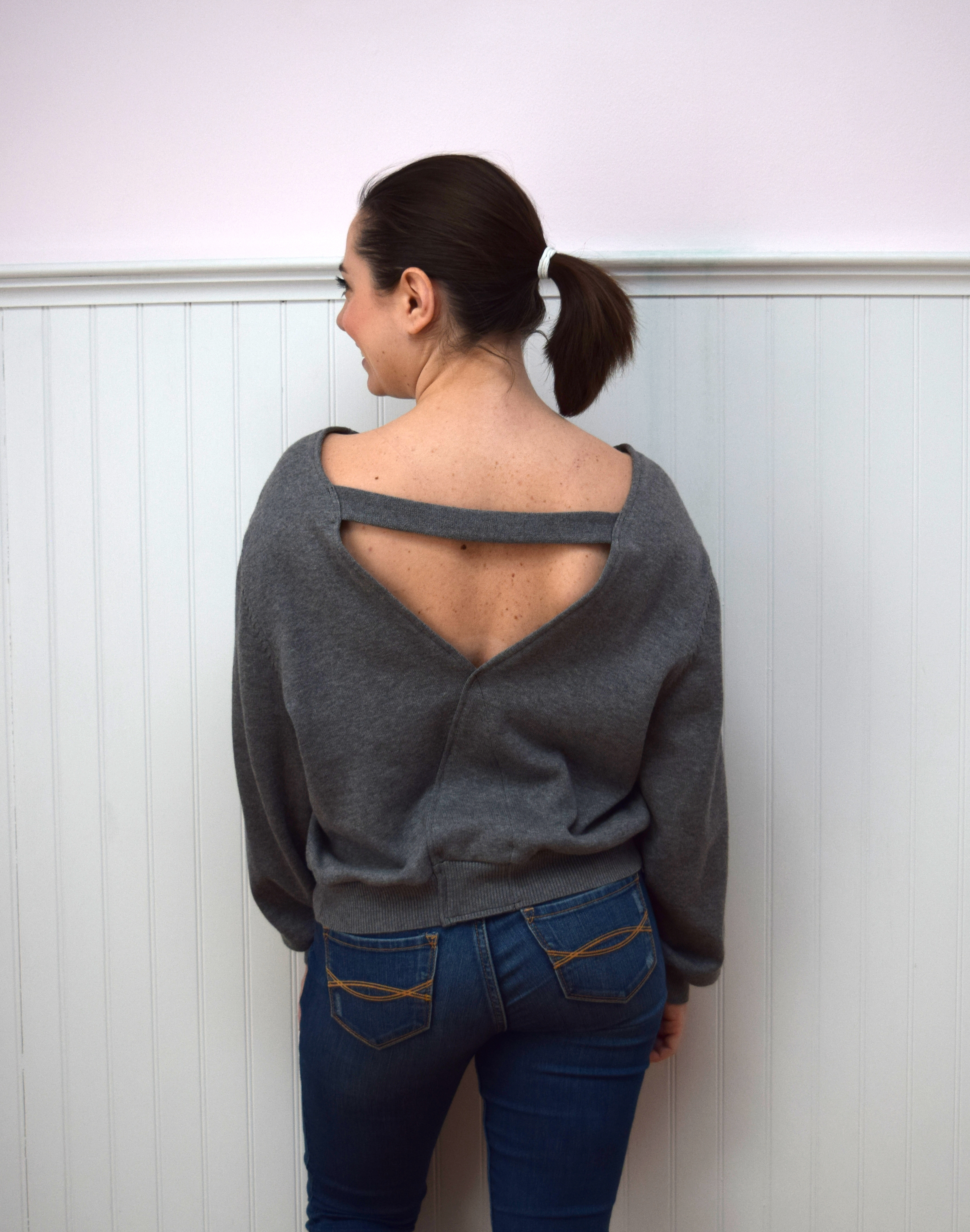 #RefashionFriday Cardigan to Open Back Sweater Refashion - Trish Stitched