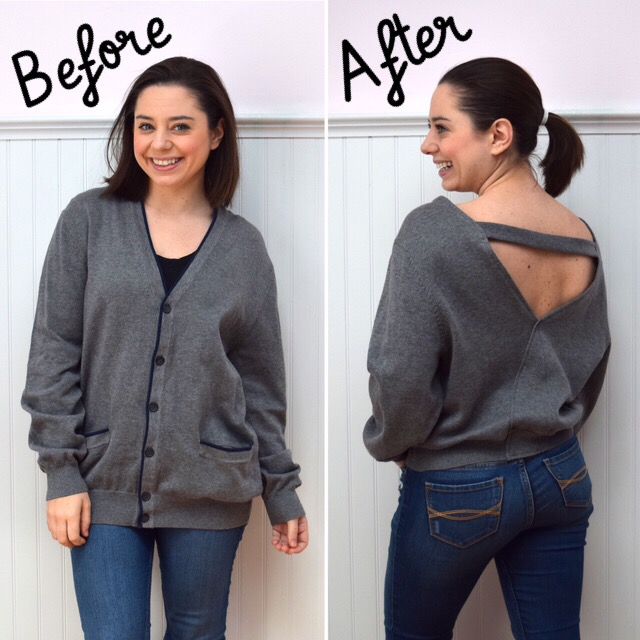 #RefashionFriday Cardigan to Open Back Sweater Refashion - Trish Stitched