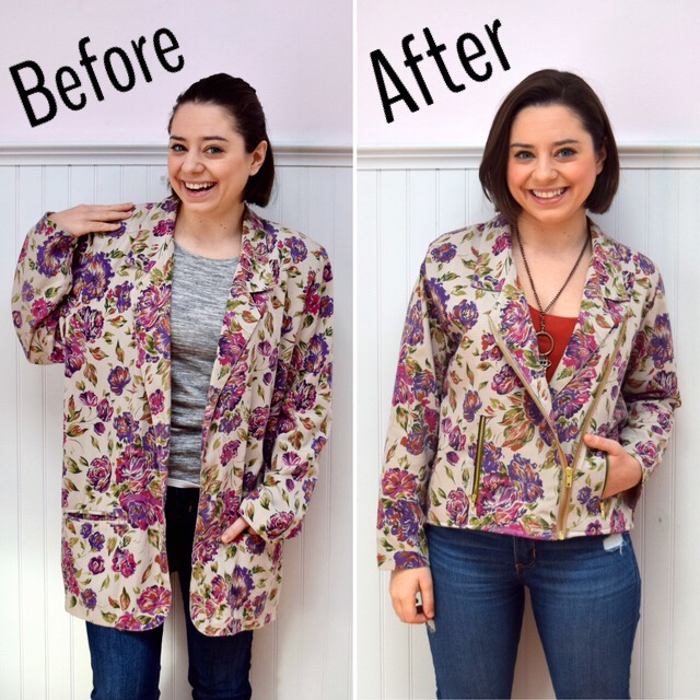 #RefashionFriday Blazer to Moto Jacket - Trish Stitched