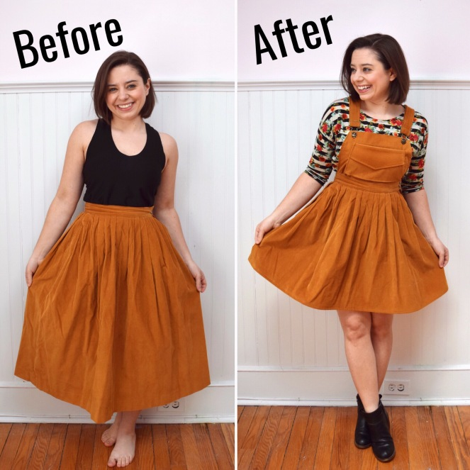 refashion a skirt into a pinafore dress