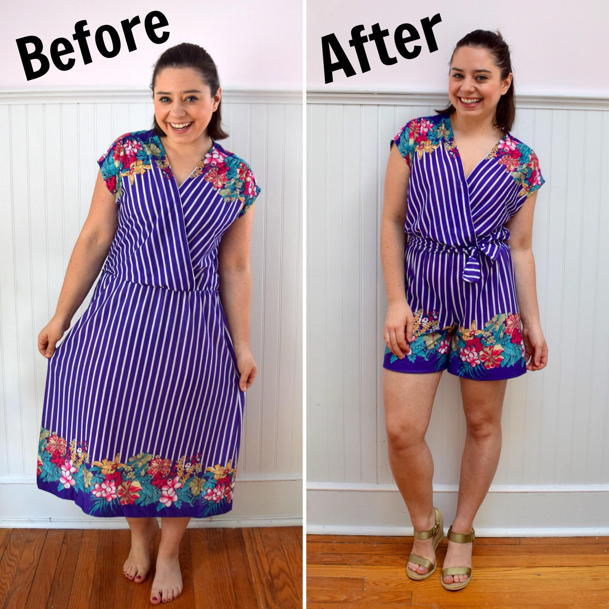 Refashion Friday: Dress to Romper Refashion - Trish Stitched