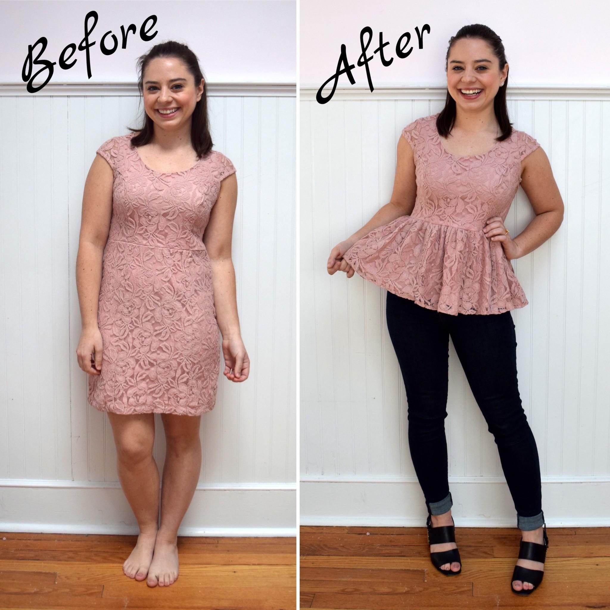 #RefashionFriday Dress to Peplum Top- Trish Stitched