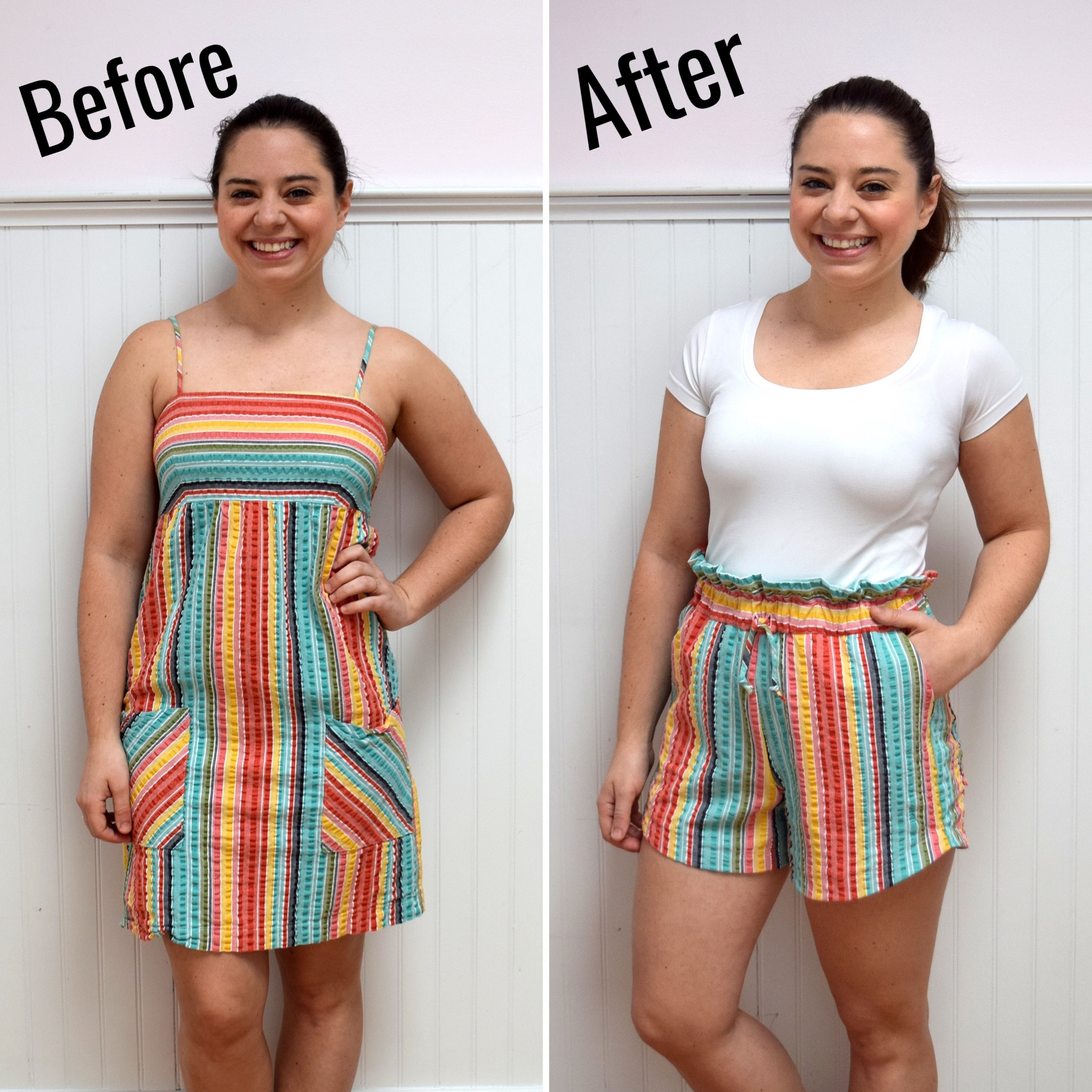 #RefashionFriday Colorful Stripe Dress to Shorts Refashion - Trish Stitched